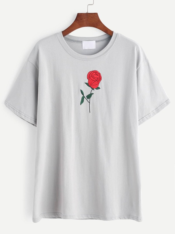 0cf960121 Grey Rose Embroidered T-shirt | SHEIN UK