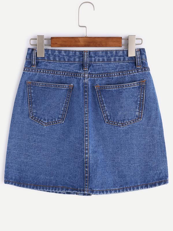 Sul Di Davanti Fila Italian Jeans Con Una Bottoni Shein Gonna p6HAwYqxw