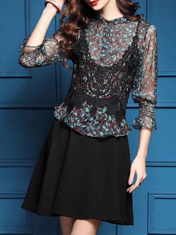 Combo Kleid mit Blattmuster und Häkeln - blau- German SheIn(Sheinside)
