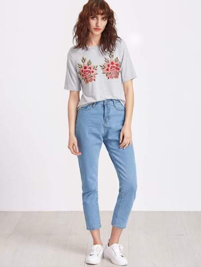 T shirt brod floral de maille sur paules appliqu gris for Poignet de porte en anglais