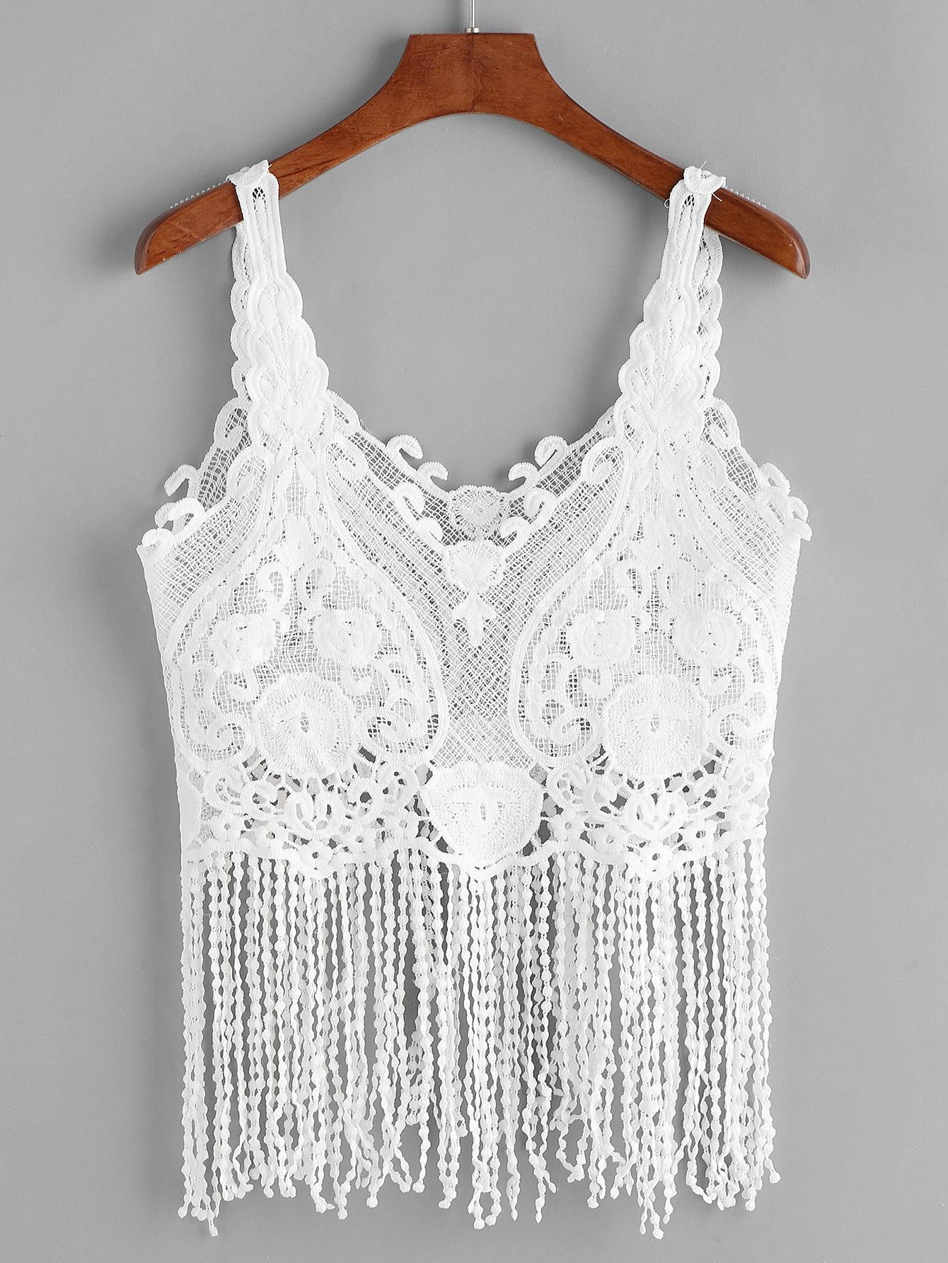 Crochet Lace Fringe Hem Tank Top Shein Sheinside