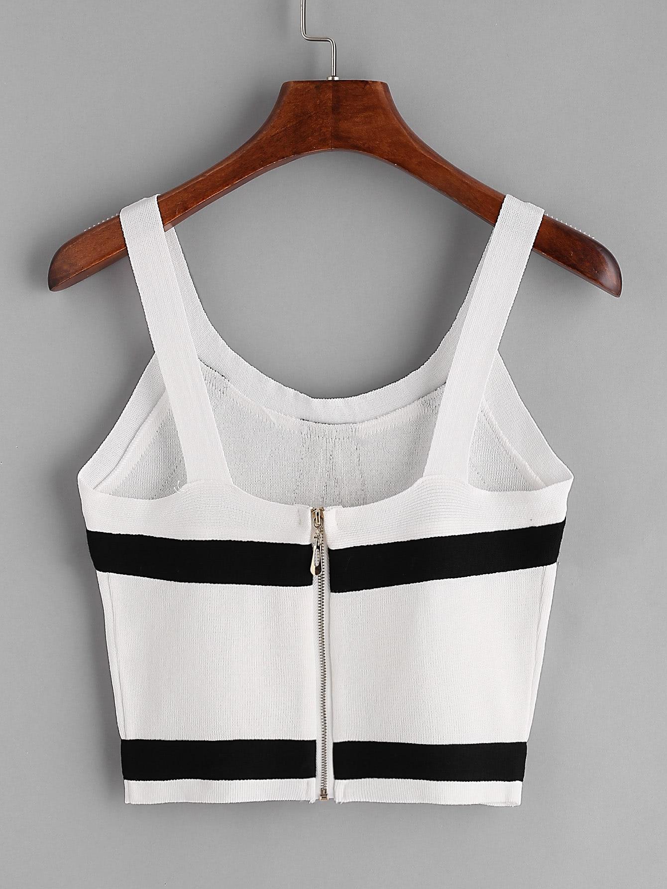 0aed3db075d58 Cheap Striped Zipper Back Knit Crop Tank Top for sale Australia | SHEIN