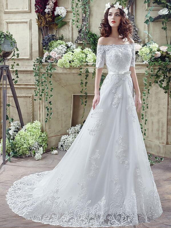 White Embroidery Boat Neck Wedding Dresses With Belt -SheIn(Sheinside)