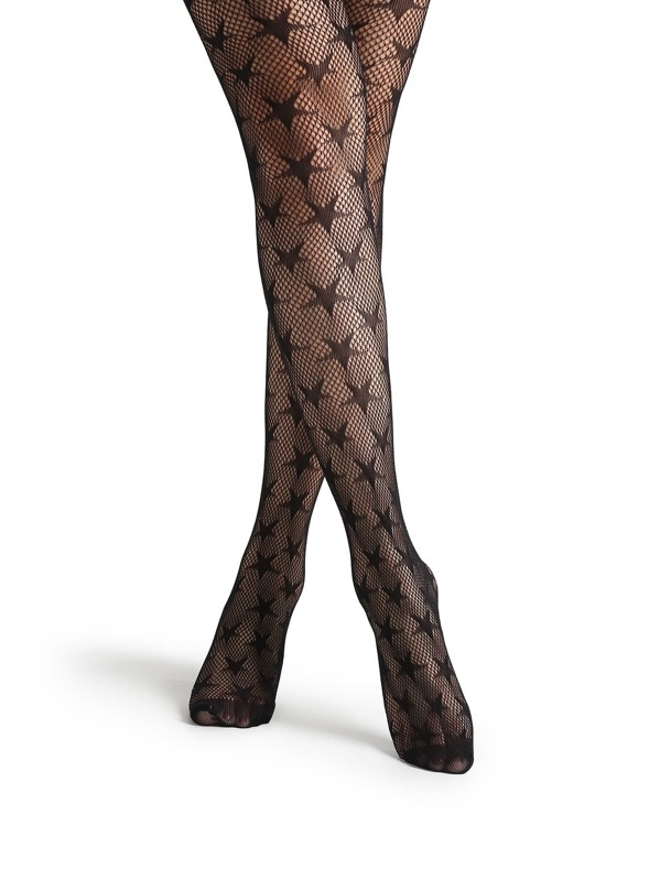 e2632d63d4d8b Black Star Pattern Sheer Mesh Pantyhose Stockings | SHEIN