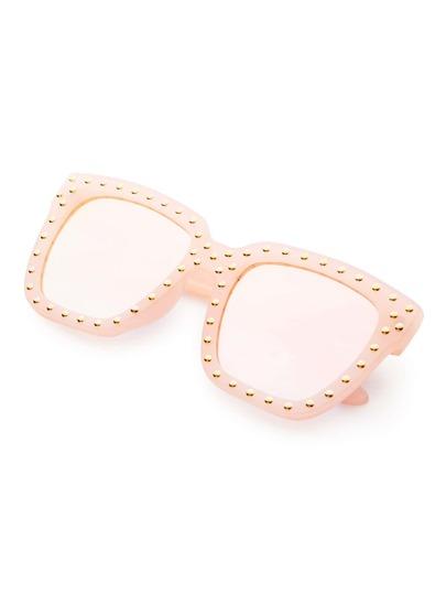 f12d75147c1 Pink Frame Square Design Sunglasses -SheIn(Sheinside)