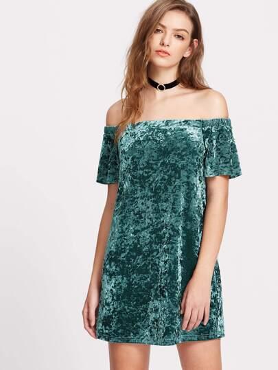 6208aba619b6 Off Shoulder Crushed Velvet Dress