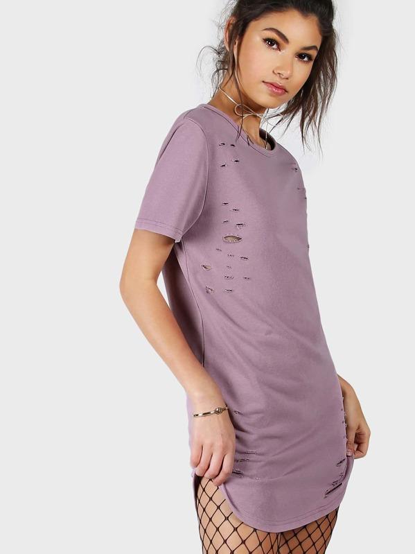 f2fdcba47b46 Curved Hem Distressed Tee Dress -SheIn(Sheinside)