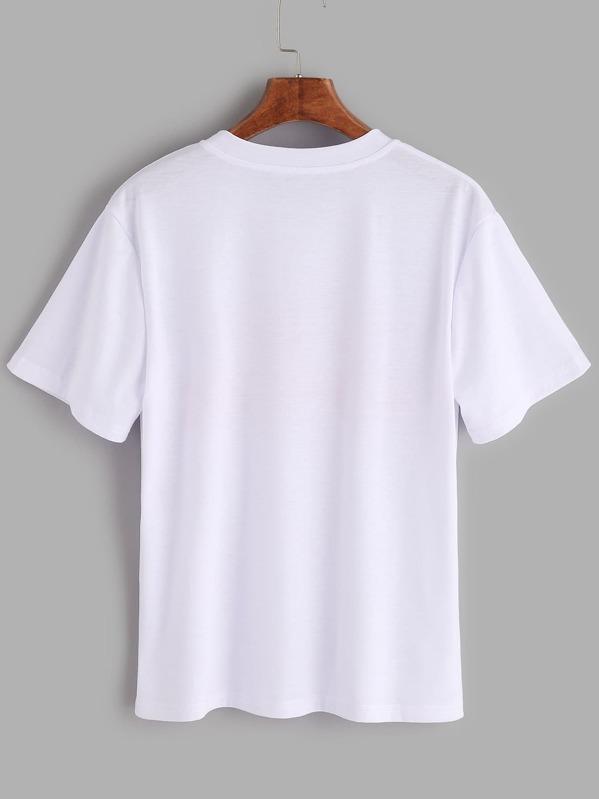 075f84aaf2 Letters Print T-shirt   SHEIN UK
