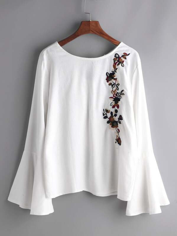 White flower embroidered bell sleeve bow tie blouse sheinsheinside mightylinksfo