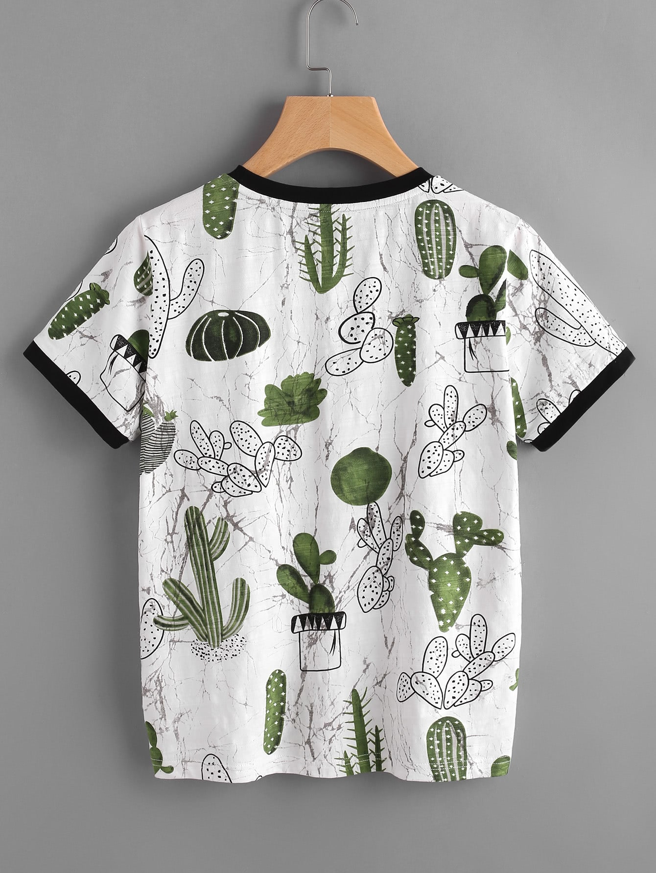 imprimer cactus t shirt et le marbre french shein sheinside. Black Bedroom Furniture Sets. Home Design Ideas