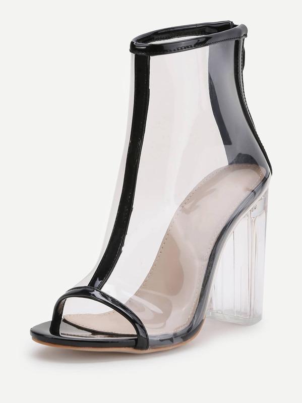 Tacón Ribete En Con De Contraste Transparente Grueso Zapatos 5Xw4STq