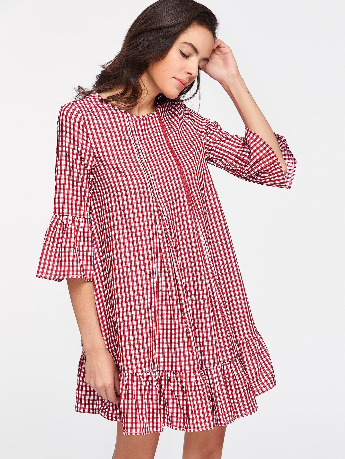 Vestido de cuadros con volantes - rojo-Spanish SheIn(Sheinside)