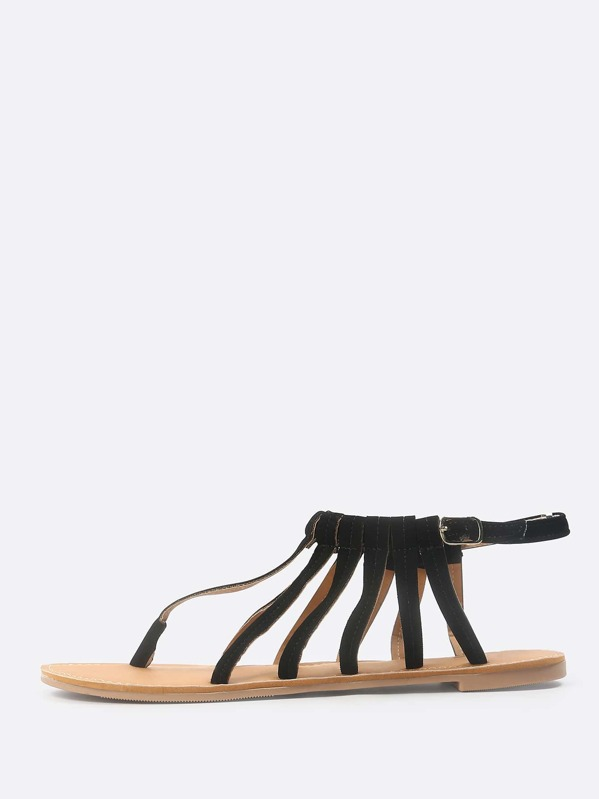 579103f97b9b79 Faux Suede Caged Thong Sandal BLACK -SheIn(Sheinside)