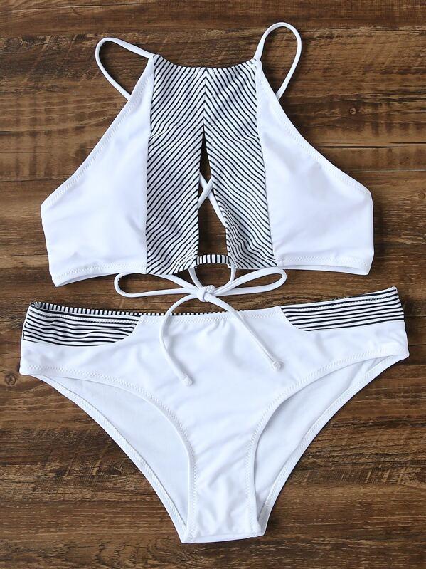 0c3a53dd80dcb Striped Lace Up Cutout Front Bikini Set -SHEIN(SHEINSIDE)