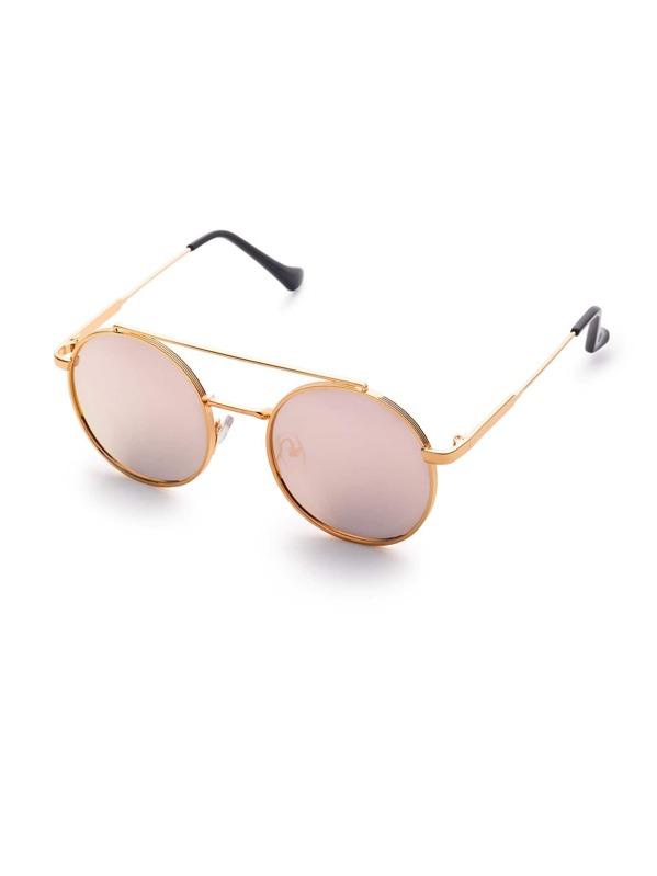 dfe45b164b Gafas de sol redondas doble puente con lentes planos rosa   SHEIN ES