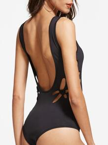 Black Double Scoop Knotted Cutout Bodysuit pictures