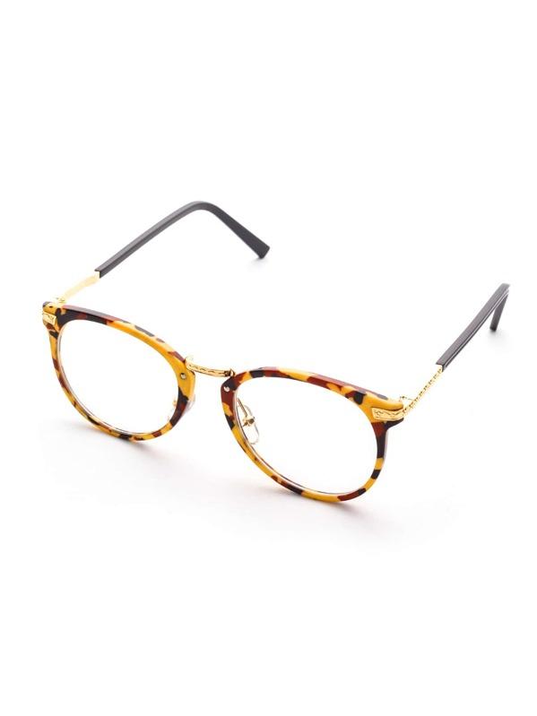 bda8a6e63e Multicolor Frame Metal Arm Clear Lens Glasses -SheIn(Sheinside)