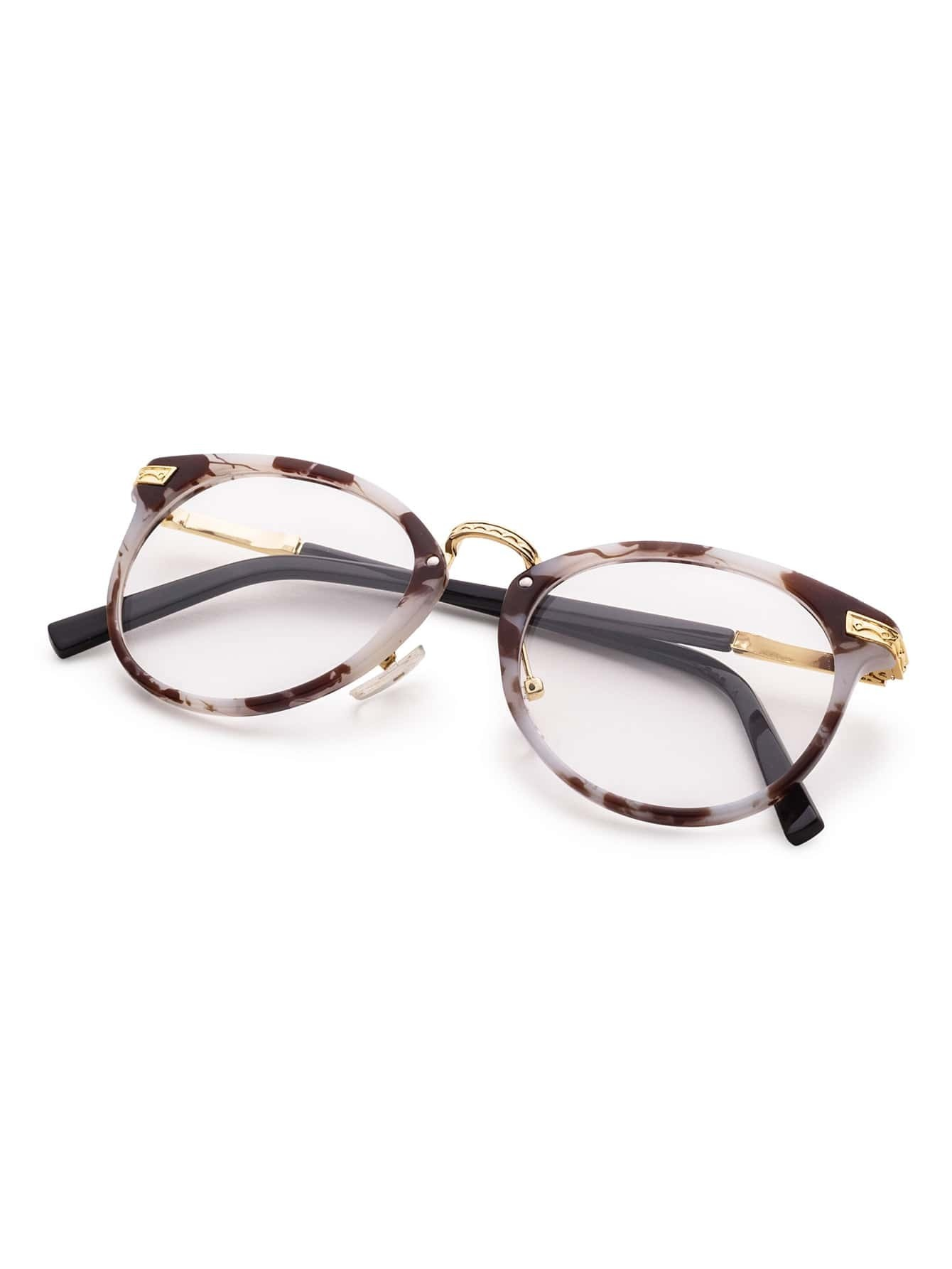 Marble Frame Metal Arm Clear Lens Glasses -SheIn(Sheinside)