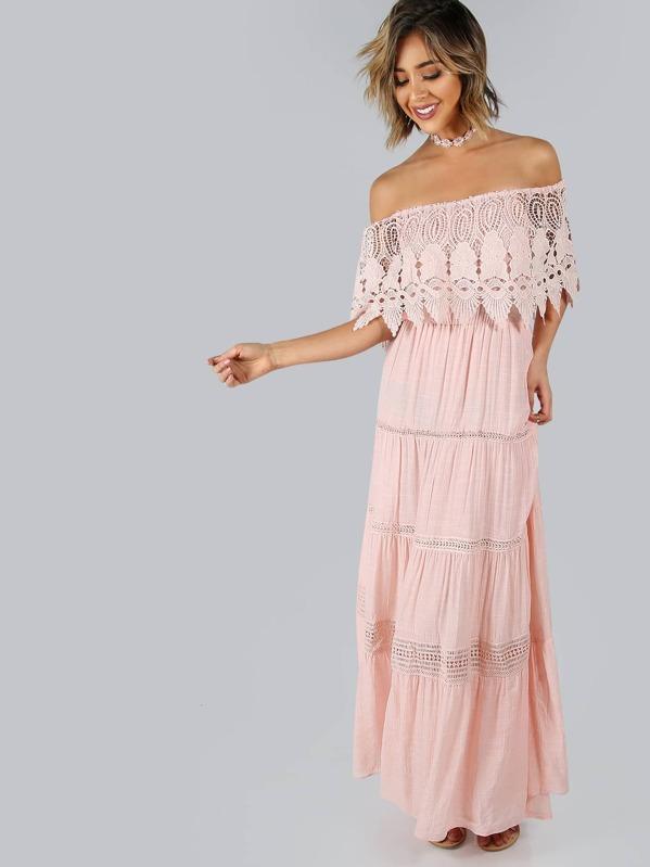 Bardot Lace Tiered Maxi Dress