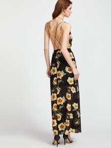Plunging V-Neckline Floral Print Caged Back Dress pictures