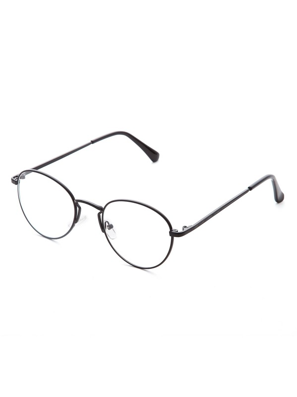 6f29978ae نظارة دائرية اطار أسود دسة واضح | شي إن