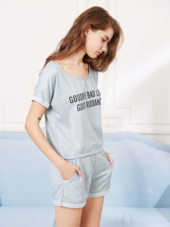 2bada10ef مجموعة الملابس لنوم تيشيرت مع شورت - رمادية   شي إن