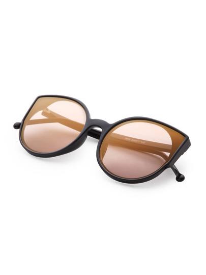 Gold Frame Black Lenses Sunglasses : Black Frame Gold Lens Sunglasses -SheIn(Sheinside)