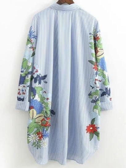 a22318f329 Flower Print Vertical Striped Shirt Dress   SHEIN IN