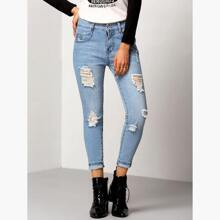 Ripped Cuffed Jeans pant151212054