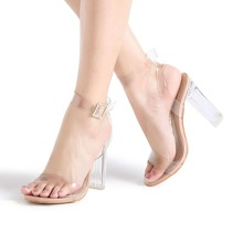Image of Ankle Strap Chunky Heeled Clear Sandals
