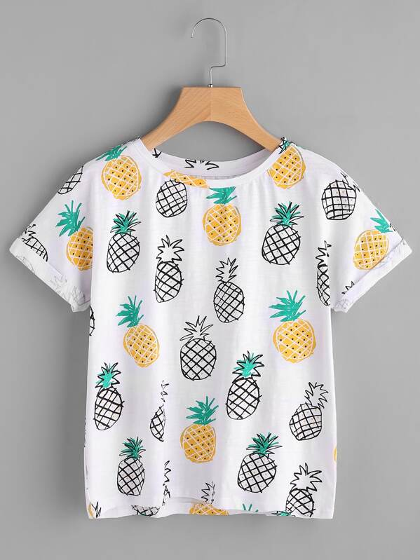 09a4818cf9 Cheap Allover Pineapple Print Roll Cuff T-shirt for sale Australia ...
