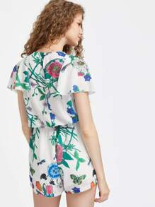 a7b5b3f11bd V-Cut Ruffle Cape Sleeve Floral Playsuit