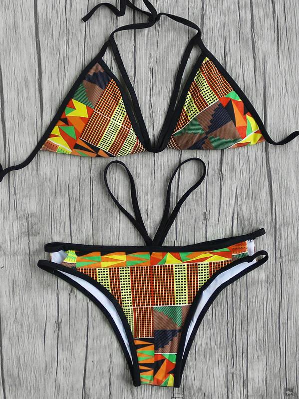 f704eb26be Geometric Print Strappy Triangle Bikini Set -SheIn(Sheinside)