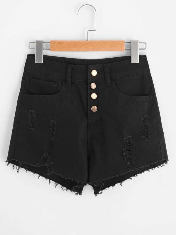 d03a97306a Cheap Raw Cut Gold Button Denim Shorts for sale Australia | SHEIN