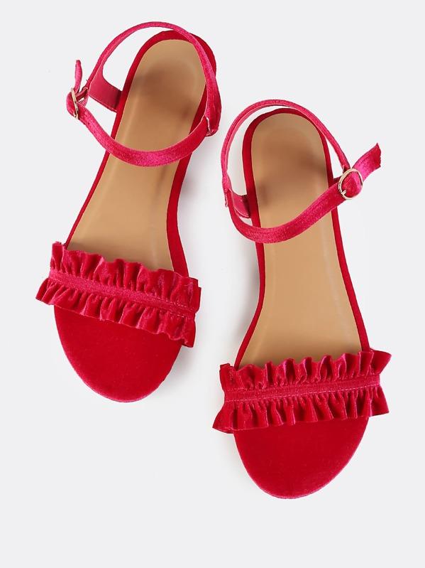 5c175ac5f81 Ankle Strap Velvet Ruffle Sandals HOT PINK for sale Australia | SHEIN