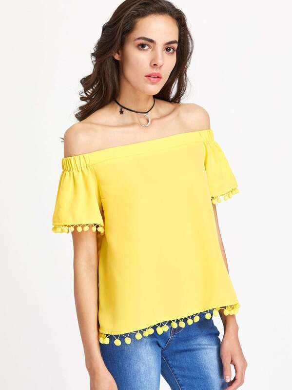 5a65bc44731 Pom Pom Trim Bell Sleeve Bardot Neck Top | SHEIN