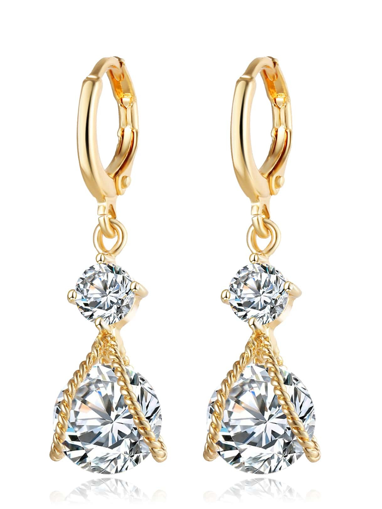 Double Rhinestone Drop Earrings SheIn Sheinside