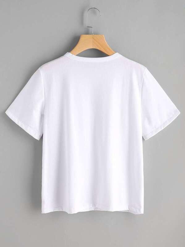 Tee-shirt manche court brodé des fleurs-French SheIn(Sheinside) 45a9a9b55564