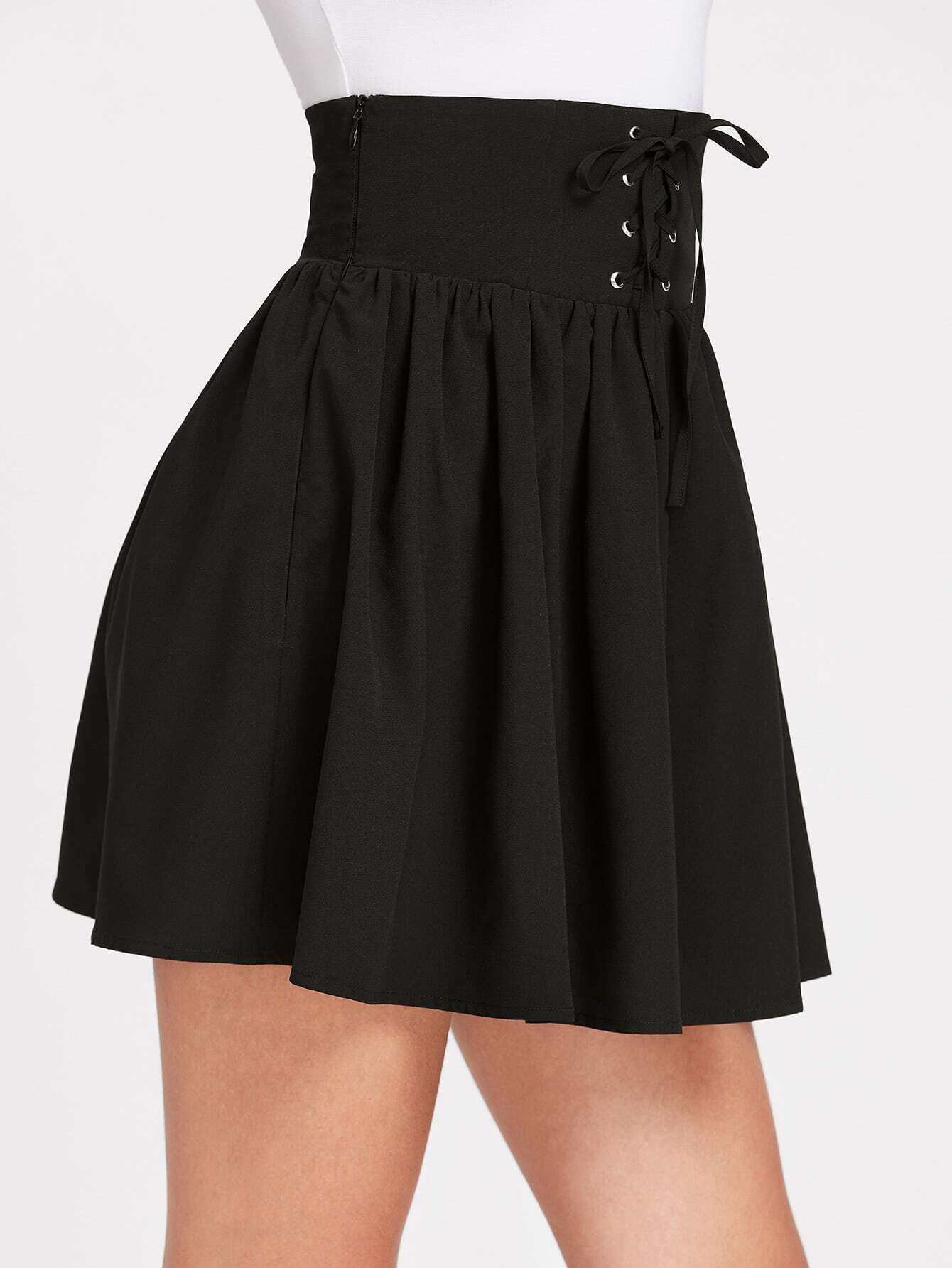 limpid in sight clear-cut texture good reputation Grommet Lace Up Corset Skirt