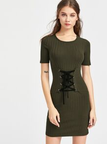 Rib Knit Lace Up Corset Belt Bodycon Dress SHEIN