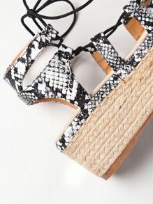 abbfe941b811 Snake Print Lace Up Espadrille Flatform Sandals
