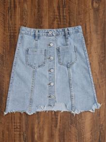 b0713d59f3 Single Breasted Dual Pockets Raw Hem Denim Skirt -SheIn(Sheinside)