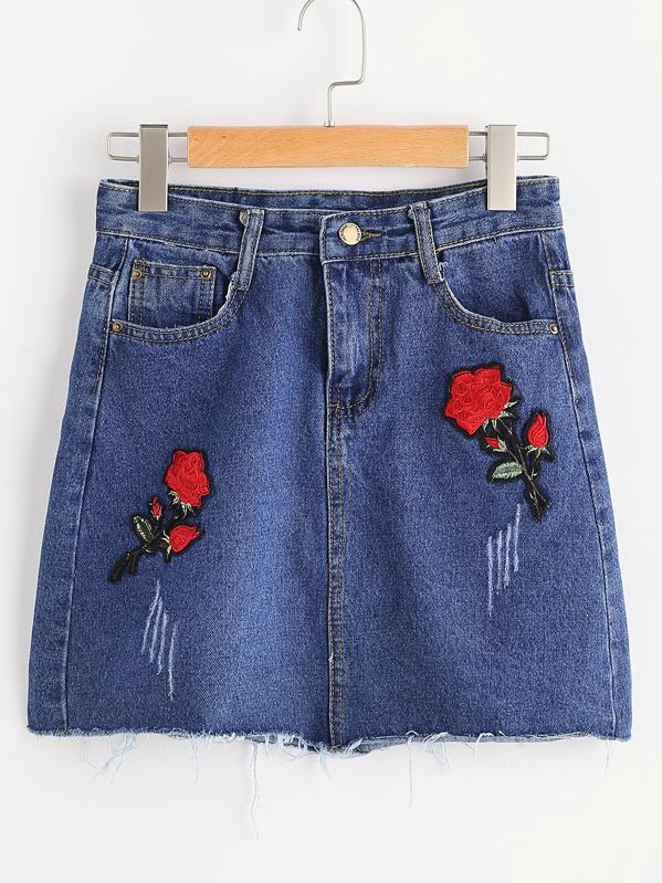Con Gonna Patch Jeans Di Sfilacciato Fiore zVGqSUpM