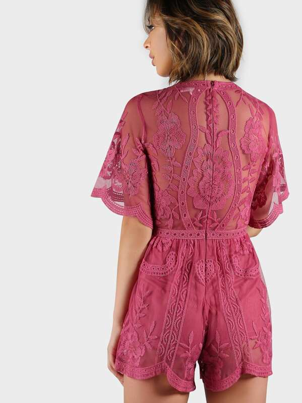 d78ea515efd1 Plunging V Floral Lace Romper RASPBERRY. AddThis Sharing Buttons