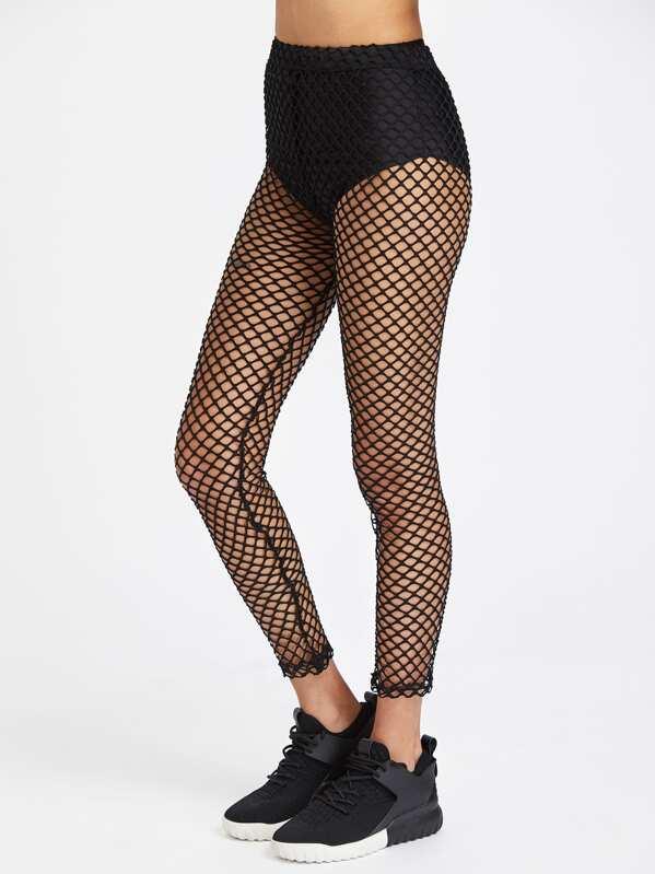 5667baf725214 Elastic Waist Fishnet Leggings | SHEIN