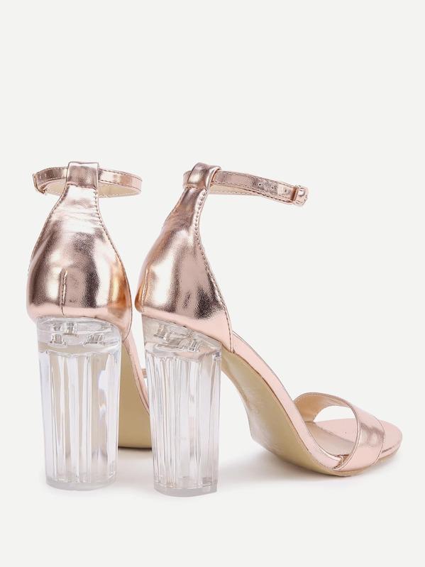 40b0d08c52b3 Rose Gold Lucite Heel Sandals
