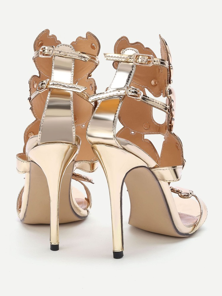 96e1e8d6614 Metallic Leather Wings Heeled Sandals