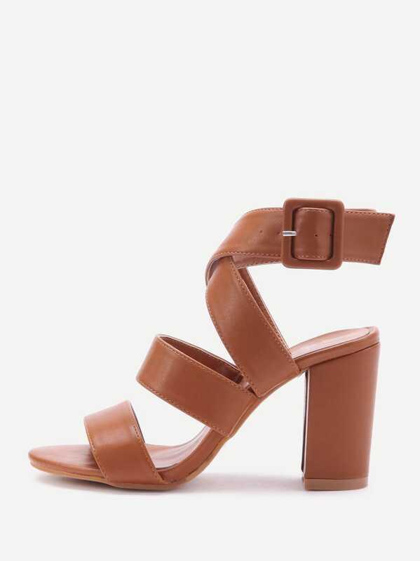 217bdce11e PU Criss Cross Block Heels With Buckle | SHEIN