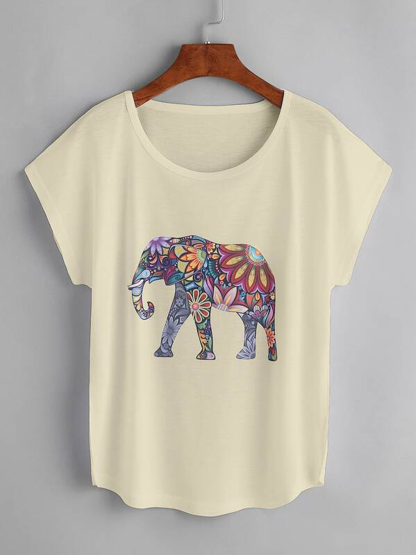 bae54ff32 Camiseta de manga de casquillo con estampado de elefante
