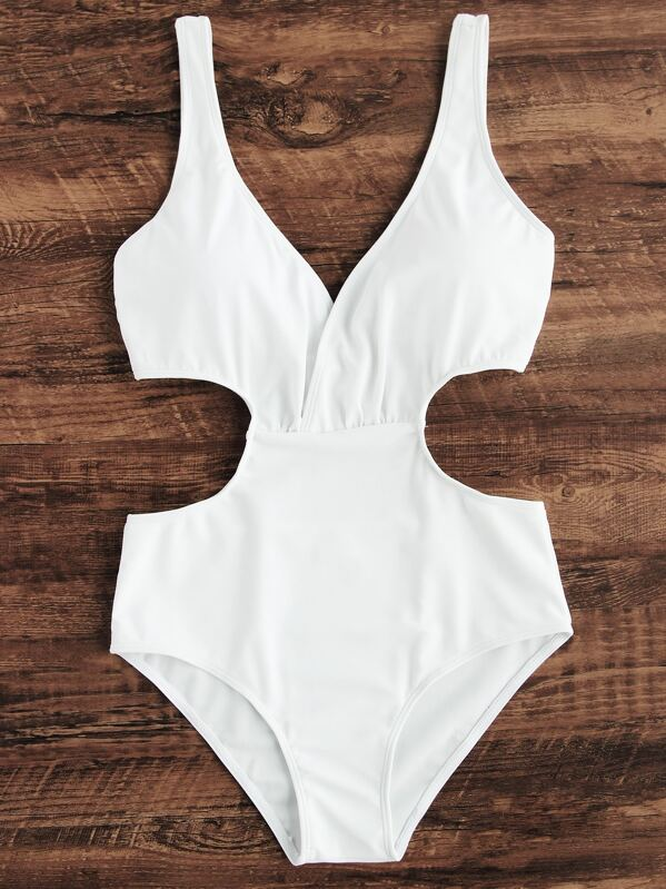 f6aab2ad37 Side Cutout One Piece Swimsuit | SHEIN